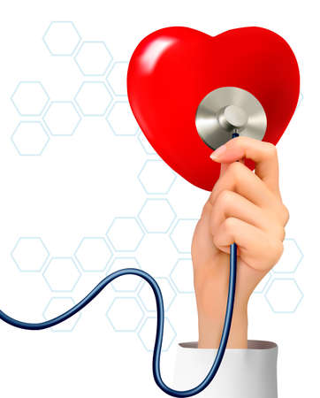 stetoscope: Background with hand holding a stethoscope against a heart  Vector