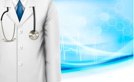Medical background with a doctor s lab white coat and stethoscope Vector illustration