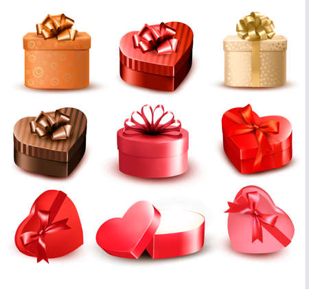 Set of colorful gift heart-shaped boxes with bows and ribbons  Vector illustration   Vector