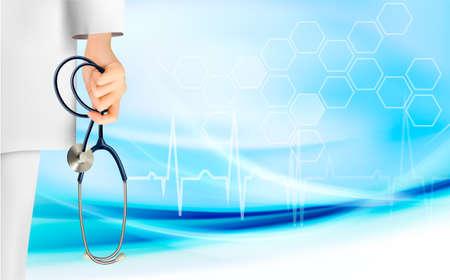 Fond médical avec la main tenant un vecteur de stéthoscope