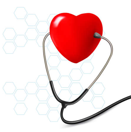 stetoscope: Background with stethoscope against a heart  Vector