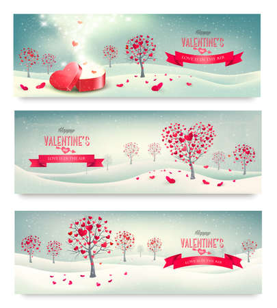 valentine passion: Holiday retro banners. Valentine trees with heart-shaped leaves. Vector