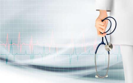 equipos medicos: Fondo médico con la mano sosteniendo un estetoscopio. Vector.