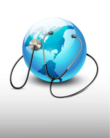 stetoscope: Stethoscope against a globe. Vector.