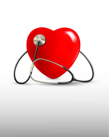stethoscope heart: Background with a stethoscope and a heart. Vector.