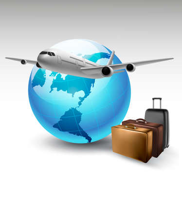 airplane travel: Background with airplane and globe. Travel concept. Vector