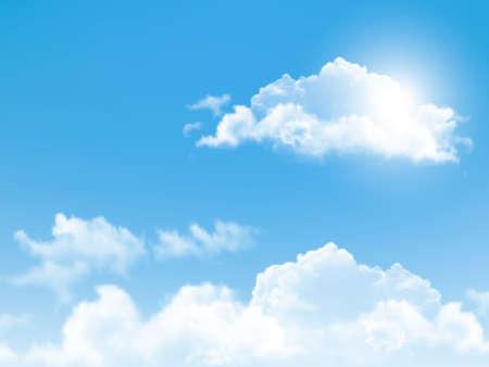 azul: Cielo azul con nubes. Vector de fondo.