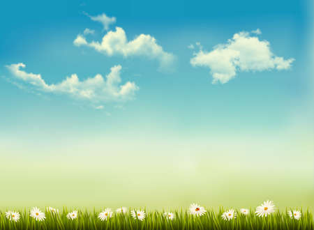 Retro nature background with green grass and sky .   Vector