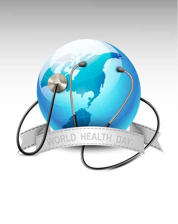 paz mundo: Estetoscopio sobre un globo terráqueo. Día mundial de la salud. Vector. Vectores
