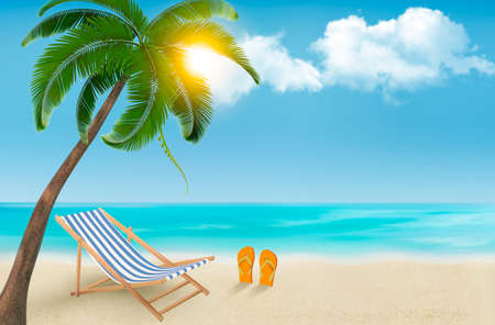 Seaside background with a beach chair and flip-flops. Vector illustration