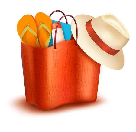 maillot de bain: sac avec maillot de bain � la plage. Vecteur Illustration