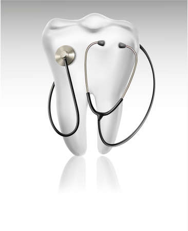 diagnostics: Medical background with tooth and a stethoscope. Concept of diagnostics. Vector Illustration