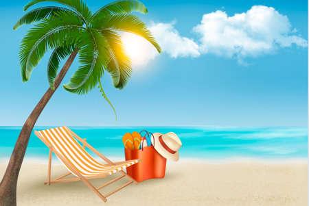 Palm leaves on beach. Vector illustration.  Vector