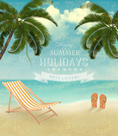 Vintage seaside background with a beach chair and flip-flops.  Vector