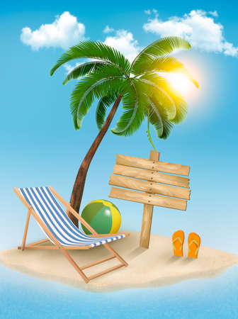 Travel background with tropical island. Summer vacation concept background.