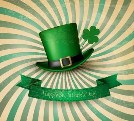 Saint Patricks Day card with clove leaf and green hat. Vector
