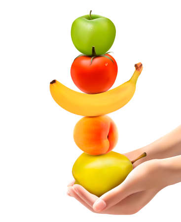 Hands holding a pyramid of healthy fruit Diet concept Vector Vektorové ilustrace