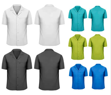 uniform: Set of white and black and colorful work clothes. Vector  Illustration