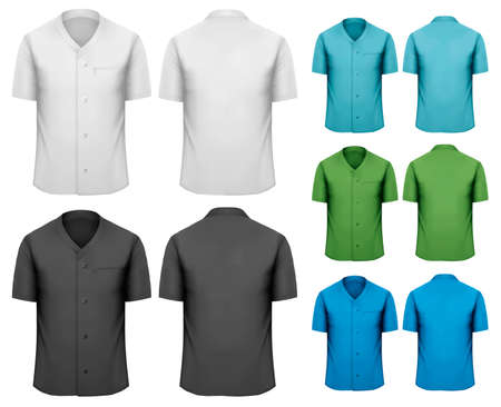 short sleeve: Set of white and black and colorful work clothes. Vector  Illustration
