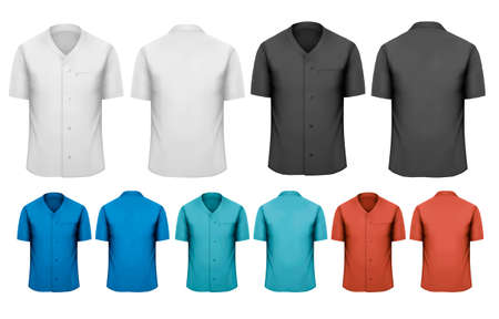 Set of white and black and colorful work clothes. Vector  Çizim
