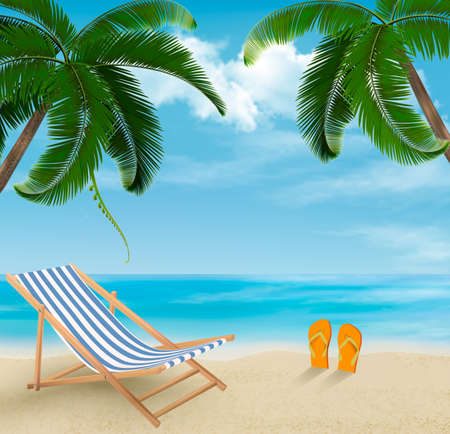 flops: Beach with palm trees and beach chair. Summer vacation concept background. Vector.