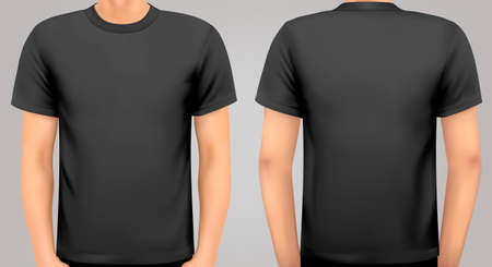 tshirt template: A male body with a black shirt on. Vector.