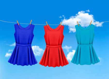 Set of colored dresses hanging on a clothesline on a sunny day. Vector illustration  Illustration