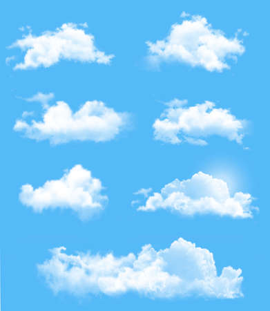 sunlight sky: Set of transparent different clouds. Vector.