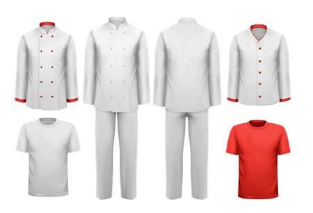 delantal: El conjunto de varios ropa de trabajo. Ilustración del vector.