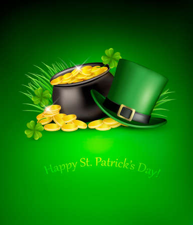 Saint Patricks Day background with clover leaves, green hat and gold coins in a cauldron. Vector illustration.  Vector