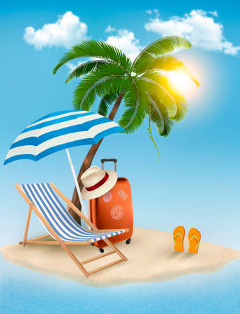 parasols: Seaside view with a palm tree, beach chair and parasol. Summer vacation concept background. Vector.