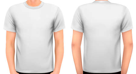 tshirt: A male body with a white shirt on. Vector.