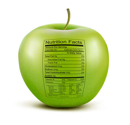 facts: Apple with nutrition facts label  Concept of healthy food  Vector