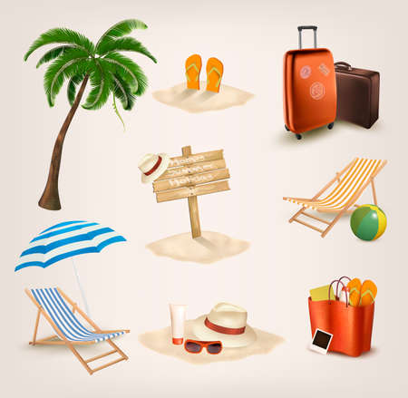 Set of vacation related icons  Vector  Illustration