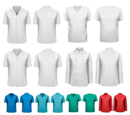 durable: Set of white and colorful work clothes  Design template  Vector illustration