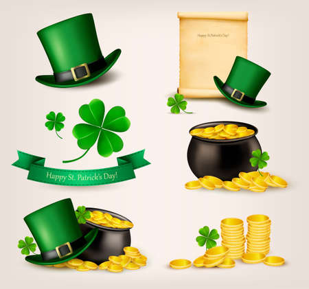 Set of St  Patrick s Day related icons  Vector  Illustration