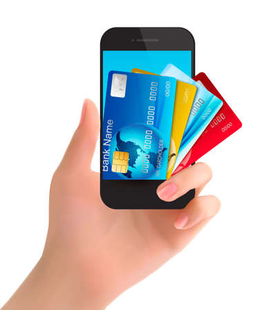 banking concept: Credit cards in a phone  Internet banking concept  Vector