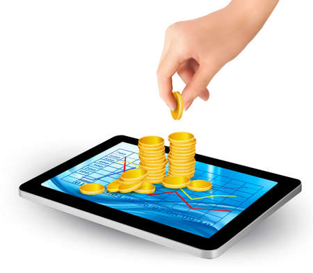 welfare: Pile of coins on a tablet  Internet job concept  Vector