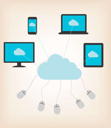Flat design concept of cloud computing concept with computer devices. Vector illustratio Vector