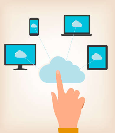 Flat design concept of cloud computing concept with hand and computer devices. Vector illustratio Vector
