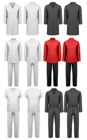 suit  cuff: Set of various work clothes. Vector illustration
