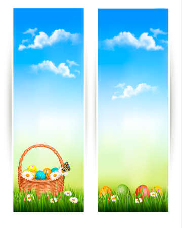 Easter banners with Easter eggs in basket and flowers. Vector  Vector