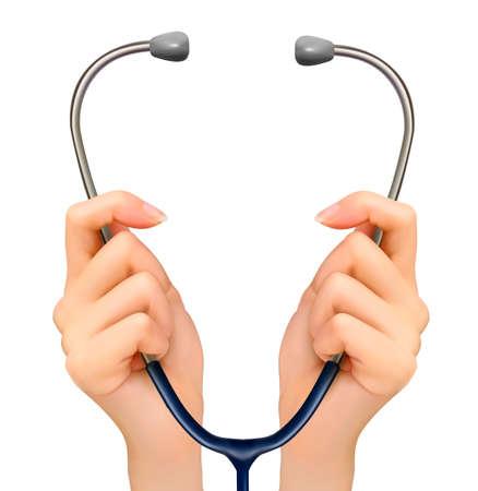 doctores: Fondo médico con las manos sosteniendo un estetoscopio. Vector.