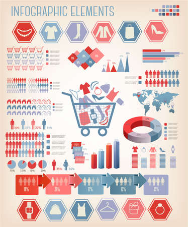 consumerism: Shopping infographics. Vector. Illustration