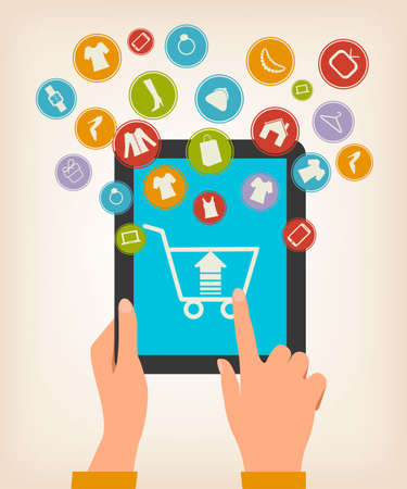 purchase icon: E-shopping concept. Hands touching a tablet with shopping icons. Vector. Illustration