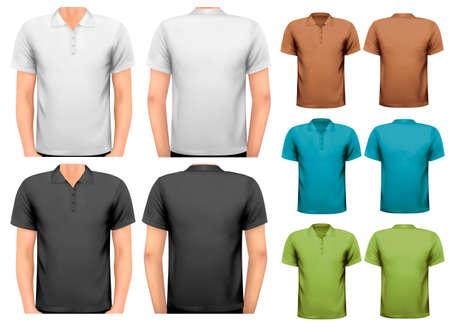 Czarno-białe i kolorowe t-shirty męskie. Szablon projektu. Wektor Ilustracje wektorowe