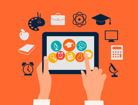 academic touch: E-learning concept  Hands touching a tablet with education icons  Vector   Illustration
