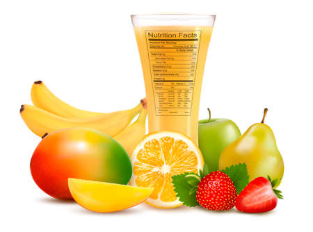 Fresh fruit and a glass of juice with a nutrition facts label  Vector illustration