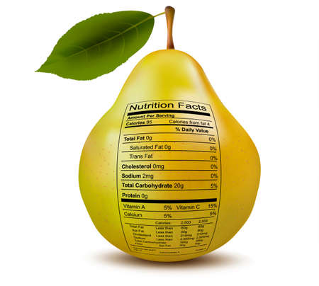 facts: Pear with nutrition facts label  Concept of healthy food  Vector