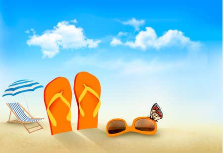 Flip flops, sunglasses, beach chair and a butterfly on a beach Summer vacation background Vector